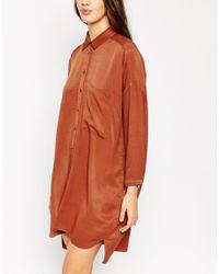 ASOS | Orange Chuck On Shirt Dress | Lyst