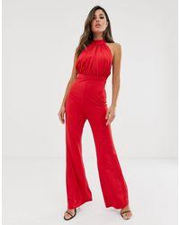 Комбинезон С Высоким Воротом, Широкими Штанинами И Сборками -красный Girl In Mind, цвет: Red
