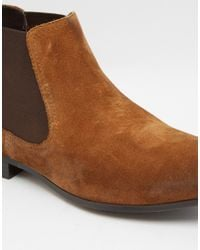 ASOS - Brown Chelsea Boots In Tan Suede With Back Pull for Men - Lyst