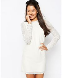 ASOS - White Mini Shift Dress With Embellished Sleeves - Lyst