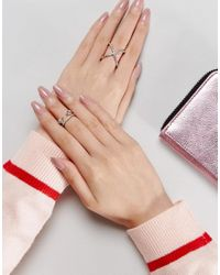 ASOS - Metallic Pack Of 2 Fine Crystal Kiss Ring Pack - Lyst