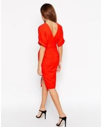 ASOS - Orange Wiggle Dress With Split Front - Lyst