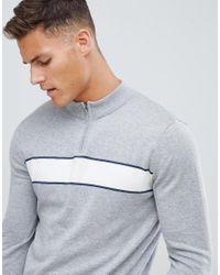 Pull en maille fermeture clair 1/4 et rayures sportives SELECTED pour homme en coloris Gray