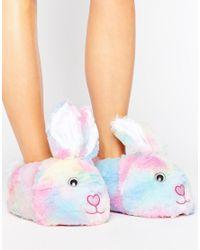 ASOS - Pink Nibbler Bunny Slippers - Lyst