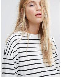 New Look White Stripe Crop Sweat