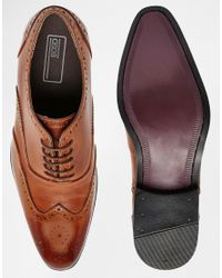 ASOS - Oxford Brogue Shoes In Brown Polish Leather for Men - Lyst