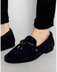 ASOS - Black Loafers In Navy Suede With Leather Trims - Lyst