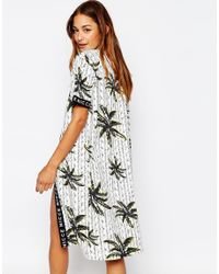 Nicce London - Black Maxi Kimono In Palm Print With Tape Detail - Lyst