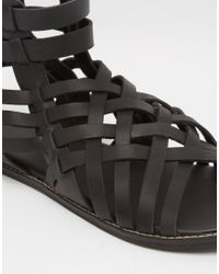 ASOS - Gladiator Sandals In Black Leather - Lyst