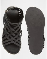 ASOS - Gladiator Sandals In Black Leather - Lyst