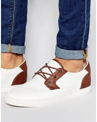 ASOS - Brown Boat Shoes In White for Men - Lyst