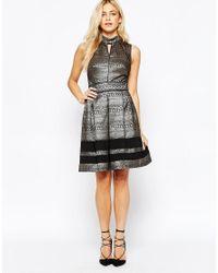 Oasis   Asis Metallic Pattern Skater Dress   Lyst