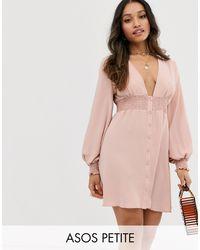 ASOS DESIGN Petite - Vestitino a maniche lunghe con bottoni e vita arricciata di ASOS in Pink