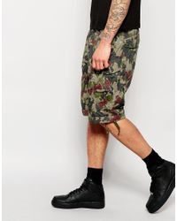 G-Star RAW - Brown Cargo Shorts Rovic Loose Fit Green All Over Camo Print for Men - Lyst