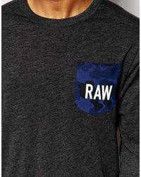 G-Star RAW | Long Sleeve Top Garain Crewneck Raw Camo Pocket In Black for Men | Lyst