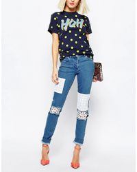 House of Holland Blue Patched Skinny Jeans