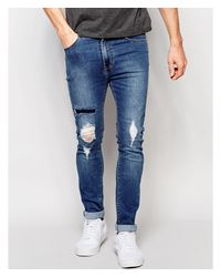 Dr. Denim - Jeans Leon Slim Tapered Ripped Mid Wash Blue for Men - Lyst