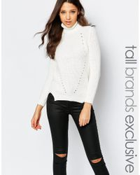 Noisy May Tall | White Cable Knit Rollneck | Lyst
