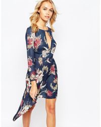 Love | Blue High Low Dress With Deep Plunge Front | Lyst
