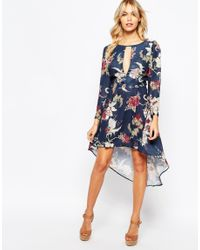 Love - Blue High Low Dress With Deep Plunge Front - Lyst