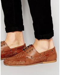 ASOS - Brown Woven Loafers In Tan Leather for Men - Lyst