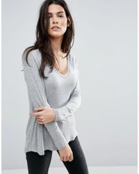 ASOS | Gray The New Forever T-shirt With Long Sleeves And Dip Back | Lyst