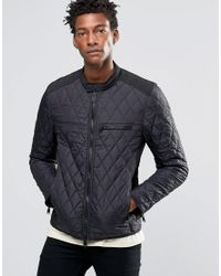 Replay Lightweight Quilted Nylon Biker Jacket In Black for men