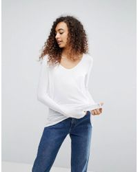 ASOS - Design Top With Batwing Long Sleeve In White - Lyst