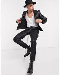 Черный Приталенный Пиджак Из Искусственной Кожи ASOS для него, цвет: Black