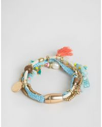 Nylon | Multicolor Multi Pack Of Festival Beaded Tassel Bracelets | Lyst