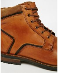 Dune Brown Lace Up Boots In Tan Leather for men