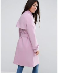ASOS | Pink Bonded Trench With Contrast Trims | Lyst