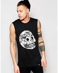 Cheap Monday - Vest Muscle Moon Skull Print In Black for Men - Lyst
