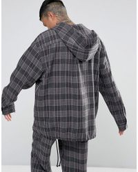 Reclaimed (vintage) Gray Inspired Oversized Overhead Shirt With Hood for men