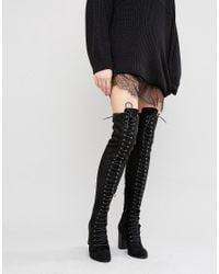 Public Desire - Black Blake Lace Up Heeled Over The Knee Boots - Lyst