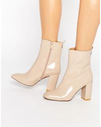 Public Desire Natural Ramona Square Toe Heeled Ankle Boots