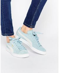 PUMA - Pale Blue Suede Basket Trainers - Lyst