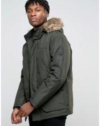 Jack & Jones | Green Core Parka With Faux Fur Hood for Men | Lyst