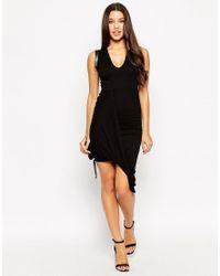 ASOS   Black Dress With Drape Detail And V Neck   Lyst