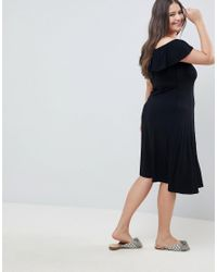 ASOS Black Asos Design Curve Off Shoulder Button Through Midi Sundress