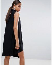 ASOS - Black Slinky High Neck Shift Dress With Asymmetric Hem - Lyst