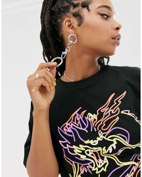 T-shirt oversize à imprimé dragon ASOS en coloris Black