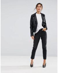 Warehouse - Black Leather Look Biker Jacket - Lyst