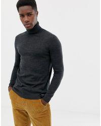 Maglione grigio in lana merino con collo alto di Superdry in Gray da Uomo