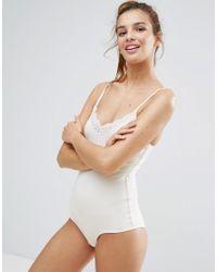 Monki White Lace Trim Contrast Body