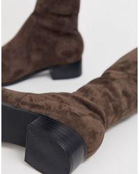 Dune Gray Head Over Heels – Taraa – Flache Overknee-Stiefel