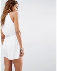 Missguided White Cheesecloth Embroidered Playsuit