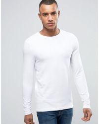 ASOS Muscle Long Sleeve T-shirt With Crew Neck In White for men