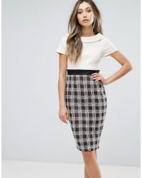 Vesper Multicolor Two-in-one Pencil Dress With Checked Skirt