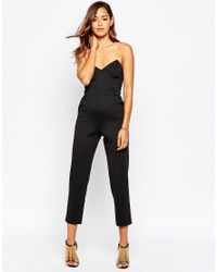 ASOS   Red Jersey Jumpsuit With Angular Bandeau   Lyst